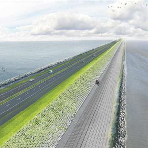 Impressie van de vernieuwde Wadkant van de Afsluitdijk