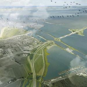 Impressie van de toegang tot de Afsluitdijk bij de Stevinsluizen van Den Oever