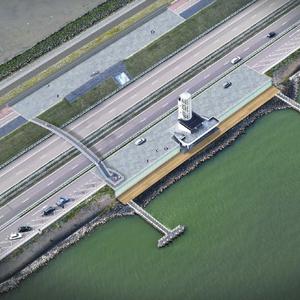 Impressie van het uitgebreide monument op de Afsluitdijk