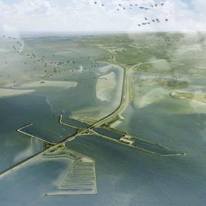 Impressie van de vismigratierivier bij de Lorentzsluizen bij Kornwederzand