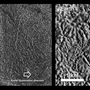 Bewerkt beel dvan het labyrinth-achtige oppervlak van de maan Titan van Saturnus.