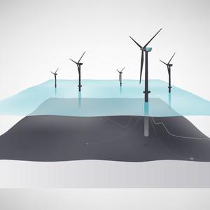Schematische voorstelling van het drijvende windpark.