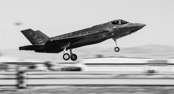 Zwart-witfoto van de Joint Strike Fighter